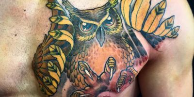 Chest Owl Tattoo